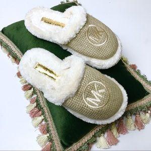 MK Michael Kors - Gold Furry Slippers Sz 8